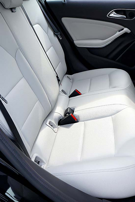 white leather car seat restored